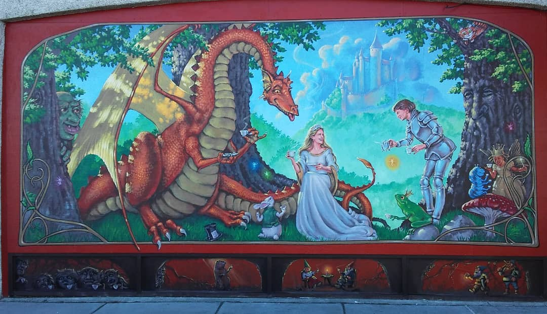 Dragon Tea Party Mural at Adventures Undergournd in Richland, WA.
